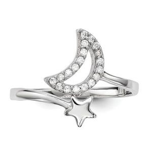 925 Sterling Silver CZ Moon With Star Ring